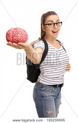 Teenage student holding a brain model isolated on white background
