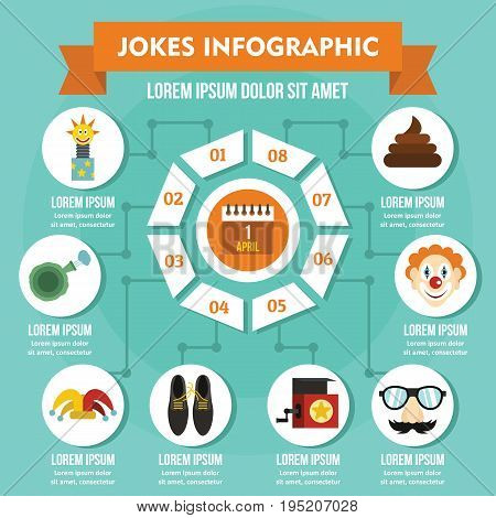 Jokes infographic banner concept. Flat illustration of jokes infographic vector poster concept for web