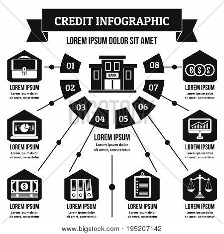Credit infographic banner concept. Simple illustration of credit infographic vector poster concept for web