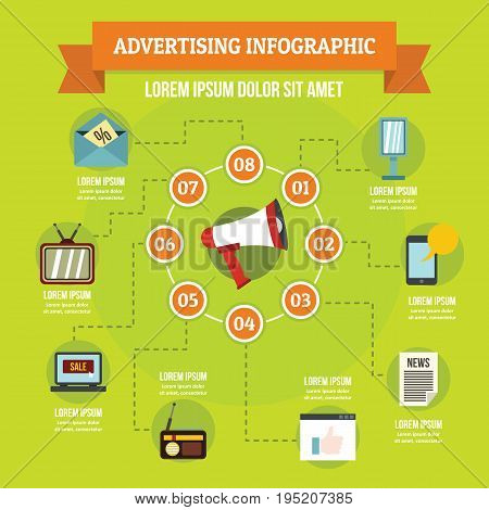 Advertising infographic banner concept. Flat illustration of advertising infographic vector poster concept for web