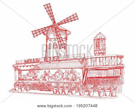 Cabaret Moulin Rouge (Landmark of Paris France) vector isolated hand drawing illustration in red color on white background