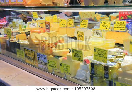 MELBOURNE AUSTRALIA - JULY 2, 2017: Dairy product shop Queen Victoria market