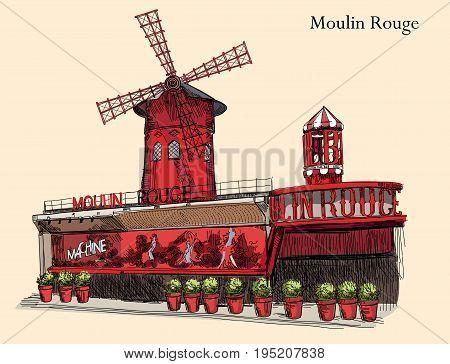 Cabaret Moulin Rouge (Landmark of Paris France) vector isolated hand drawing illustration colorful image on beige background
