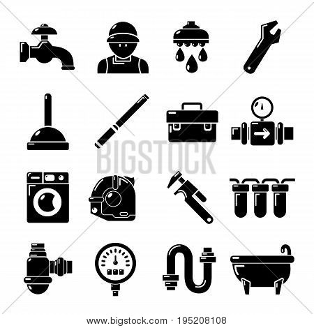 Plumber symbols icons set. Simple illustration of 16 plumber symbols vector icons for web