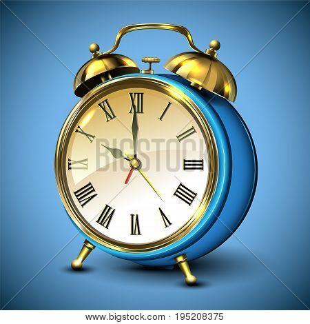 Metal retro style alarm clock on blue background. Vector illustration.