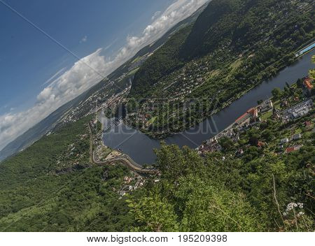 Crooked view for valley of river Labe with Usti nad Labem city