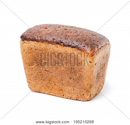 A loaf of black rye-wheat unleavened bread isolated on white background
