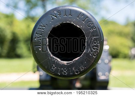 Mouth or muzzle of civil war cannon at Harpers Ferry in West Virginia