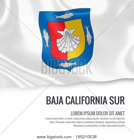 Mexican state Baja California Sur flag waving on an isolated white background. State name and the text area for your message. 3D illustration.
