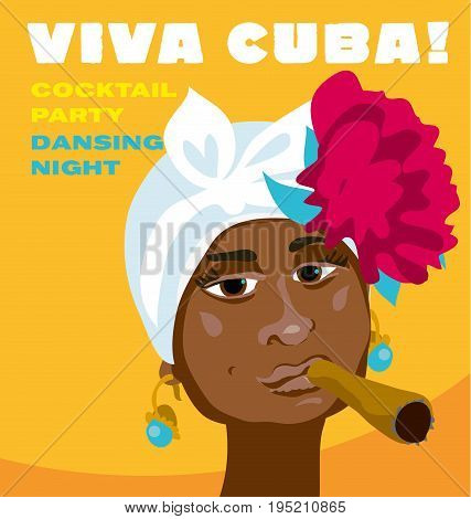 cuban woman face. cartoon vector illustration for music poster. cuba girl with floral decor and cigar. caribien ethnic caricature grotesque poster