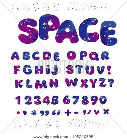 universe space color alphabet typeface. kid font element set. child style ABC vector illustration.