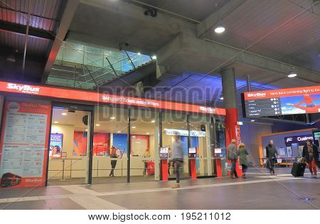 MELBOURNE AUSTRALIA - JULY 3, 2017:Unidentified people travel at Southern Cross Station bus terminal.