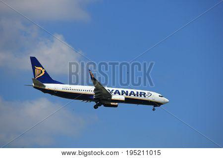 Amsterdam the Netherlands - July 9th 2017: EI-ENW Ryanair Boeing 737-800 approaching Schiphol Amsterdam Airport Kaagbaan runway