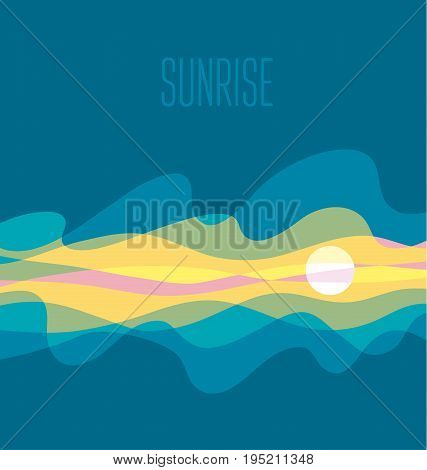 abstract sunrise sky vector illustration. daybreak simple concept wave blue background