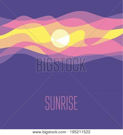 violet abstract sunrise sky vector illustration. daybreak simple concept wave blue background