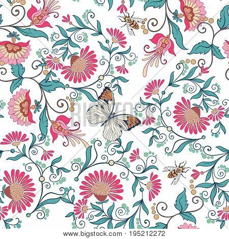 Seamless pattern, background with vintage style flowers and butterflies and bees in pink and green colors. Stock line vector illustration.