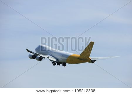 Amsterdam the Netherlands - July 9th 2017: N856GT Polar Air Cargo Boeing 747-87UF takeoff from Buitenveldert runway Amsterdam Airport