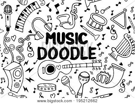 Collection of Music Instruments in circleHand drawn illustration in doodle styleseamless background doodle vector.