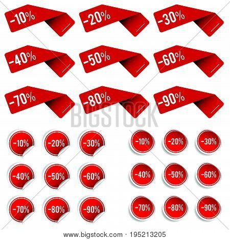 Sale Label Set In Red Color Illustration