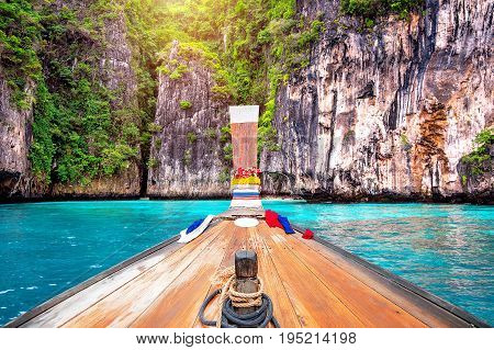 Long Boat And Blue Water At Maya Bay In Phi Phi Island, Krabi Thailand.