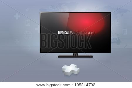 3D plus sign with modern flat screen TV with health care background