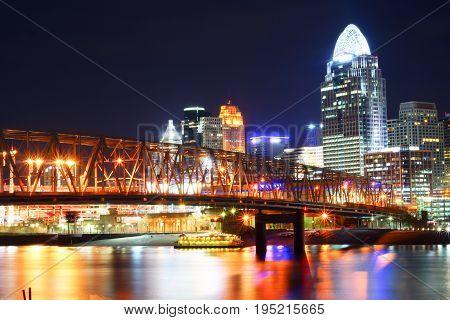 Beautiful Cincinnati skyline at night with lights