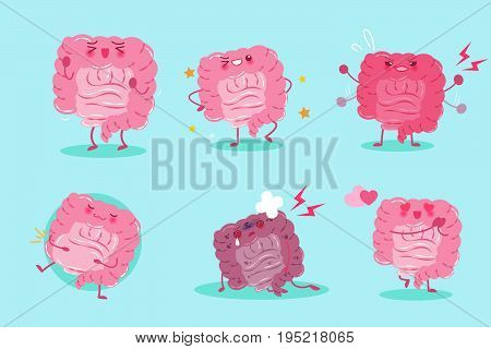 cute cartoon intestine on the blue background