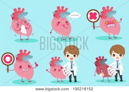 cartoon doctor with heart on the green background