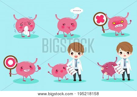 cartoon doctor with bladder on the green background