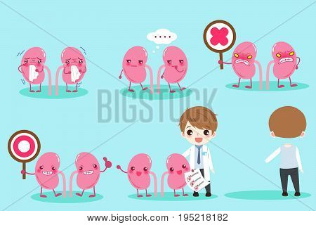 cartoon doctor with liver on the green background