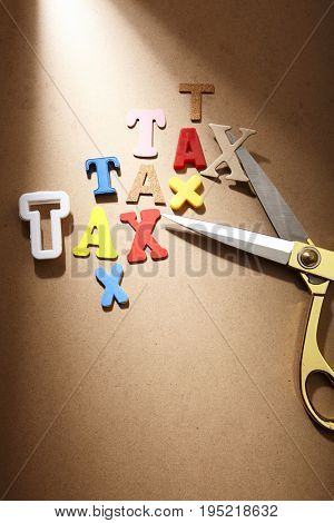 scissors with lot of tax words