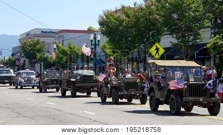 Alameda CA - July 04 2017: Unidentified participants in the Alameda 4th of July Parade one of the largest and longest Independence Day parade in the nation.