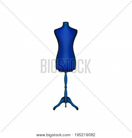Vintage dress form in blue design on white background