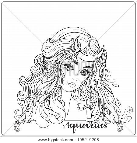 Aquarius. A young beautiful girl In the form of one of the signs of the zodiac.  Outline hand drawing coloring page for adult coloring book. Stock line vector illustration.