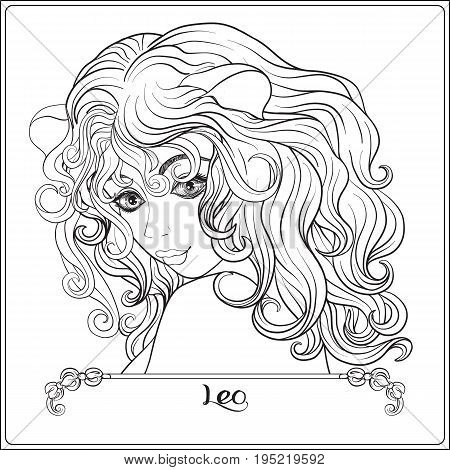 Leo. A young beautiful girl In the form of one of the signs of the zodiac.  Outline hand drawing coloring page for adult coloring book. Stock line vector illustration.