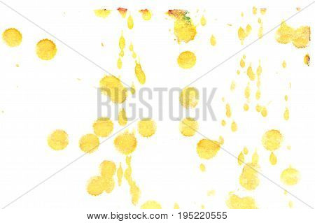 Abstract yellow ink splash. Ink blots. Elements of design. The water-soluble ink on white paper Leste. Abstract modern art.