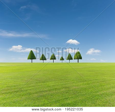 green lawn and trees with clipping path against a blue sky