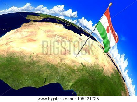 Niger national flag marking the country location on world map. 3D rendering, parts of this image furnished by NASA