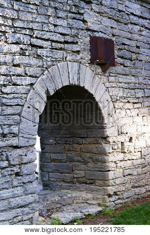 Stone Archway with bricks that is ancient