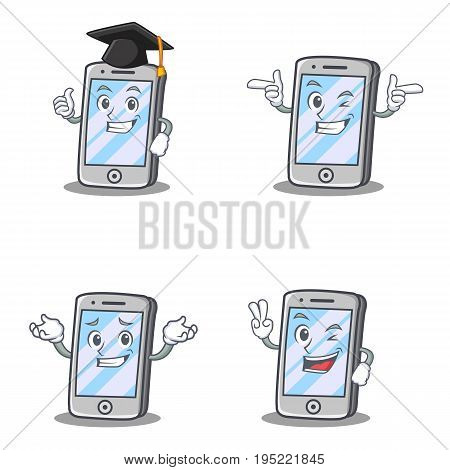 Set of iPhone character with graduation wink grinning vector illustration