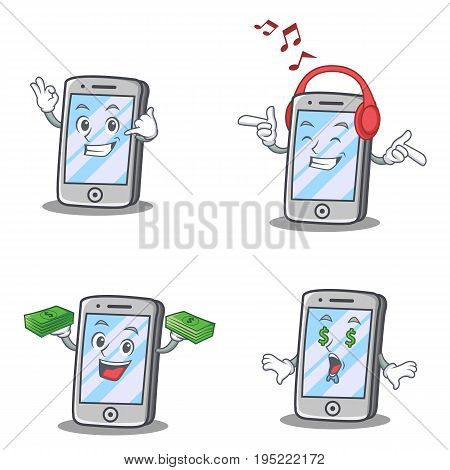 Set of iPhone character with headphone money call me vector art
