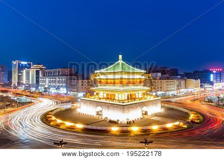 Xi'an the starting point of the ancient silk road beautiful bell tower at night