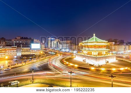 Xi'an the starting point of the ancient silk road beautiful bell tower at night China