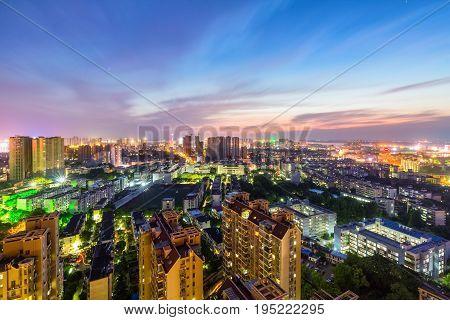 jiujiang cityscape in sunset beautiful small city jiangxi province China
