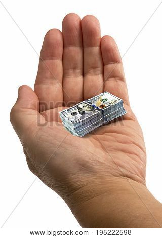 The shrinking small money in a hand.