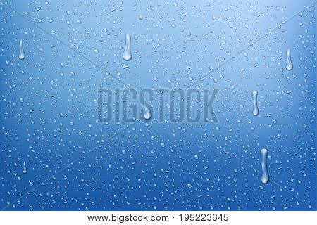 Water backgrounds with water drops. Realisti rain drops. Blue water bubbles. Vector Illustration isolated. EPS 10