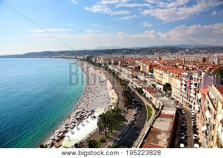 Aerial view of the beach and promenade in Nice France