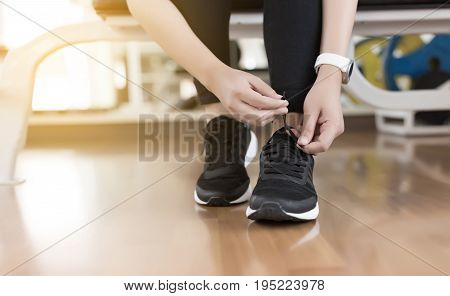 Female Fitness Exercise Concept Fit Woman Stretching Her Leg To Warm Up Happy Young Fitness Woman