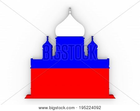 Cathedral of Christ the Savior in Moscow. Simple silhouette. 3D rendering