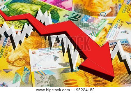 Dropping Arrow With Swiss Francs Money Background